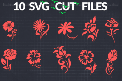 Flower SVG Silhouettes | Floral SVG Cut Files