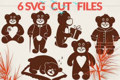 Teddy Bear Silhouettes | Bear Silhouettes SVG Cut Files