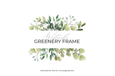 GREENERY FRAME Watercolor foliage, green leaves, floral logo