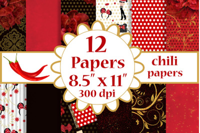 Red Paprer Pack,Floral background,8.5 x 11 inch papers