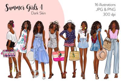 Watercolor Fashion Clipart - Summer Girls 4 - Dark Skin