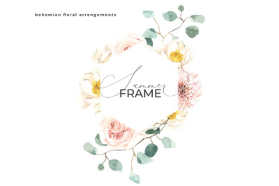 Summer Boho Frame - Watercolor Floral Wedding Wreath
