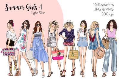 Watercolor Fashion Clipart - Summer Girls 4 - Light Skin