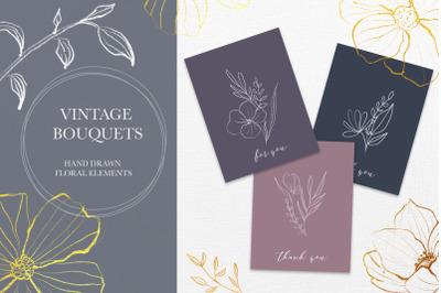 Vintage bouquets - Line Art set