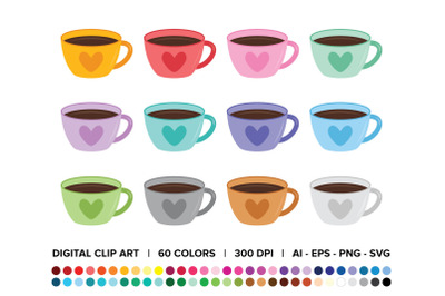 Valentine Coffee Heart Mug Clip Art