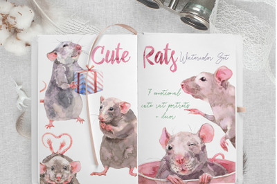 Cute Rats Watercolor Set