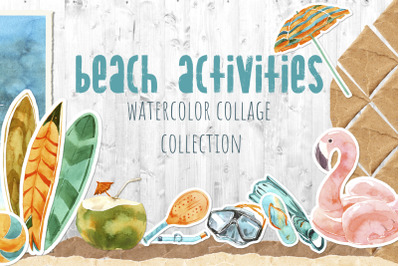 Beach Activities Watercolor Collage