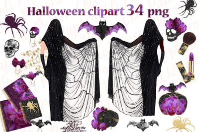 Halloween clipart,Halloween Planner,Girls Witch clip art