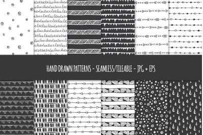 24 Hand Drawn Seamless Patterns. Abstract Vector Doodles. 01