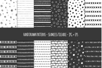 24 Hand Drawn Seamless Patterns. Abstract Vector Doodles. 02