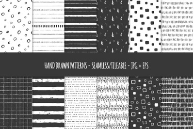24 Hand Drawn Seamless Patterns. Abstract Vector Doodles. 03
