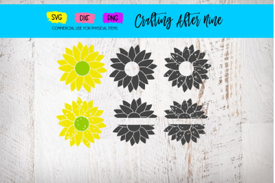Sunflower Svg, Distressed Flower Svg, Grunge Sunflower, Distressed Sun