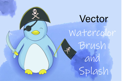 Vector Watercolor Brush and Splash