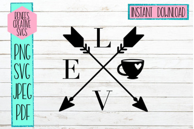 Love arrows with Coffee Cup| Coffee cup | SVG Cutting File