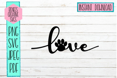 Love With Paw Print | LOVE | SVG Cutting File
