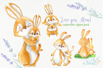 Bunny and mom Mothers day watercolor clipart