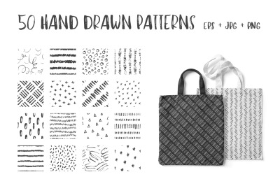 50 Hand Drawn Pen & Ink Patterns. Abstract Vector Doodles.