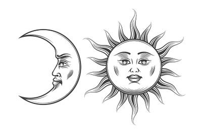 Hand Drawn Art Sun and Crescent Moon Engraving Illustration