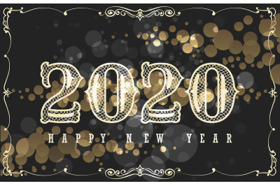 Happy New 2020 Year Design in Vintage Style