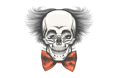 Human Skull in Professor glasses and Red bow tie