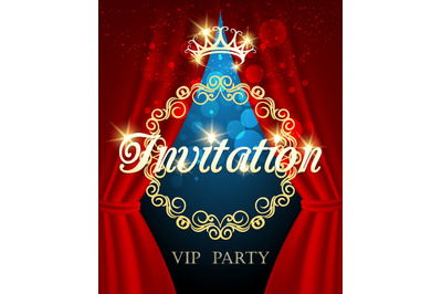 Luxury Invitation Card vip party invite with golden crown and red curt