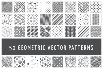 50 Vector Geometric Patterns. Abstract Seamless Patterns.