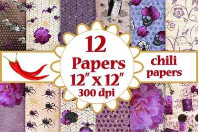 Halloween paper pack,Purple papers,Fall digital papers pack