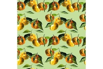 Seamless pattern tangerines.