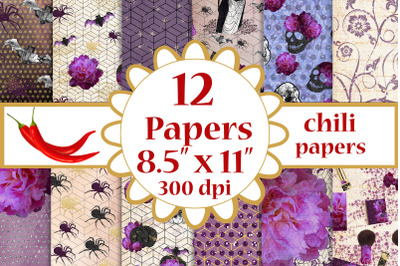 Halloween paper pack,Purple papers,Fall papers A4 papers