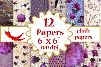 Halloween paper pack,Purple papers,Fall digital papers 6x6
