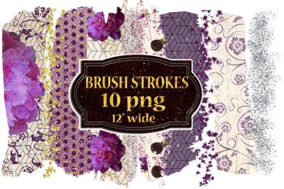 Brush SStroke Clipart, Floral Brush Strokes,Gold brush png