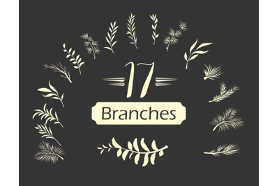 Beautiful Simple Leafy Branch Set - 17 in One File