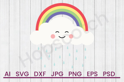 Rainbow & Cloud - SVG File, DXF File