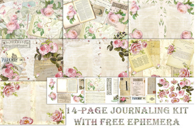 Printable Junk Journal with FREE Ephemera and clipart. Commercial Use