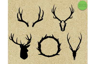 antlers SVG cut files, DXF, vector EPS cutting file instant download