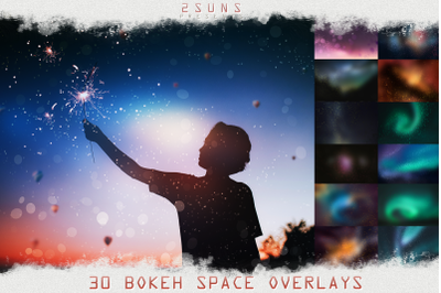 Bokeh overlays space cosmos effects filter glitter