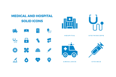 Medical and hospital icon in solid style