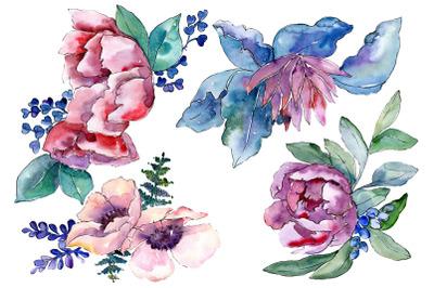 Bouquet heart joy watercolor png
