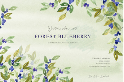 Forest Blueberries Watercolor set