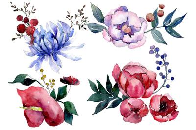 Bouquet flower palette watercolor png