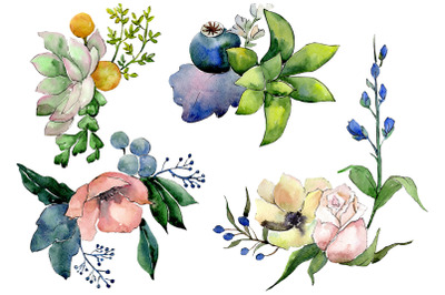 Bouquet of flowers Hugs watercolor png