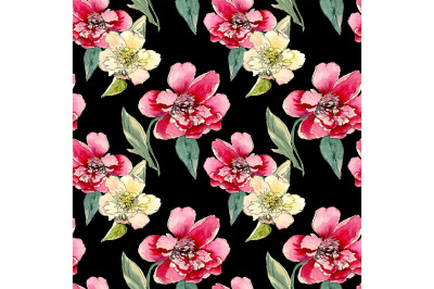 Seamless pattern peonies.