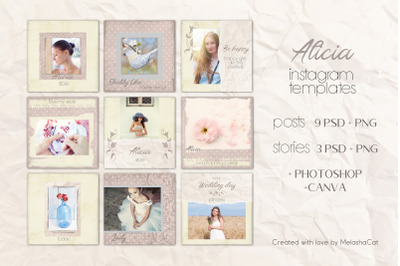 Alicia Instagram Templates - 9 posts and 3 stories.  PSD + PNG