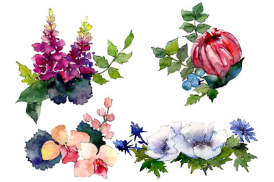 Bouquet of flowers Charms watercolor png