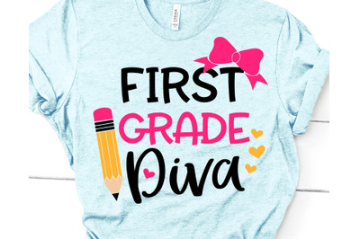 First Grade Diva Svg, Girl 1st Grade Svg, Back to School, First Day of