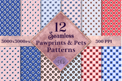Seamless Pawprints & Pets Patterns - 12 Images