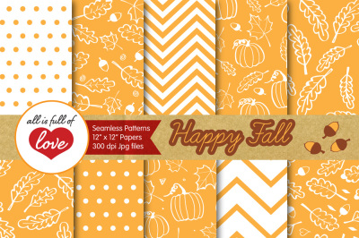 Saffron Yellow and White Autumn Digital Papers Fall Background Patterns