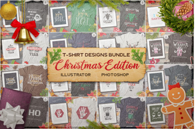 Christmas T-Shirt Designs Retro Bundle. Xmas Tees SVG File