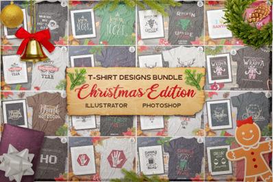 Christmas T-Shirt Designs Retro Bundle. Xmas Tees SVG File