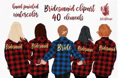 Buffalo Plaid Wedding Robes clipart Bridesmaid clipart